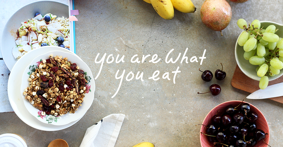 Amazin'Graze's healthy granolas for breakfast along with fresh apples, grapes, cherries and bananas because you are what you eat.