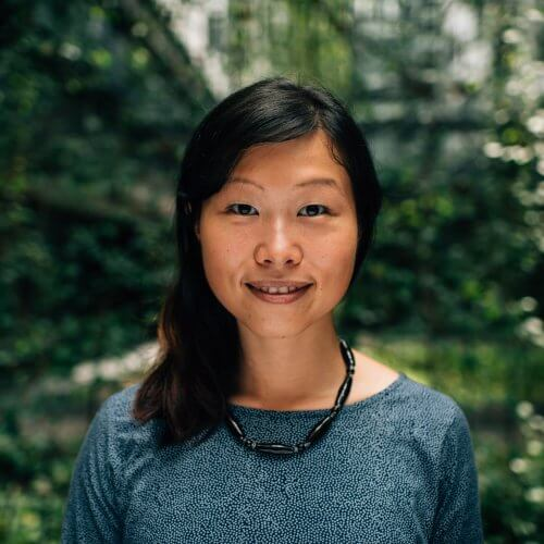 Black haired and black eyed asian woman wearing a blue top and a beed necklace with a nature background