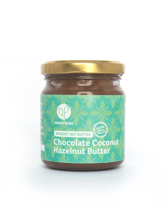 100% stone ground Chocolate Coconut Hazelnut Amazin'Nut Butter with a green label