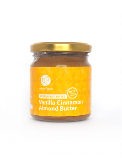 100% stone ground Vanilla Cinnamon Almond Amazin'Nut Butter with a yellow label
