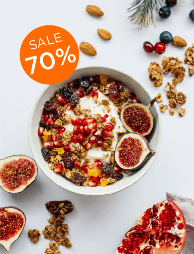 Candied Fruitcake Granola with 70% off messaging