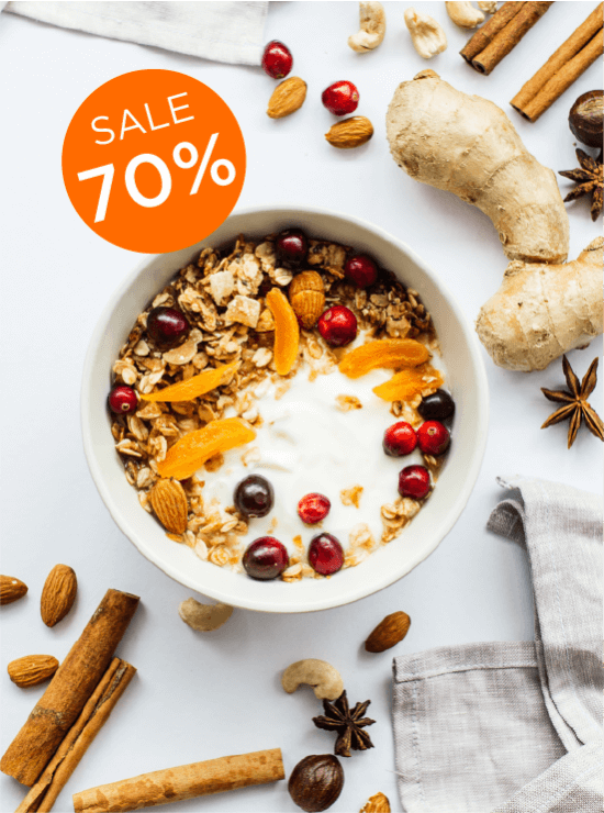 Gingerbread Crumb Granola with 70% off messaging