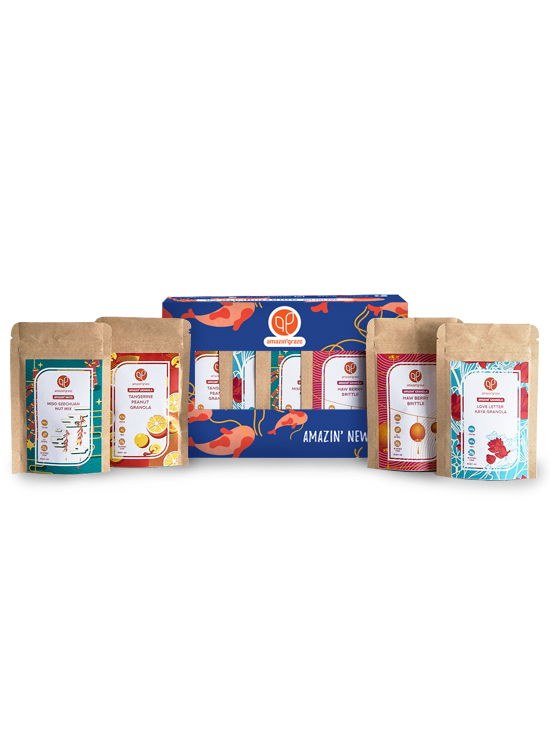 Mini Gift Box: Strength containing 40 g packs of Tangerine Peanut Granola, Love Letter Kaya Granola, Miso Szechuan Nut Mix, and Haw Berry Brittle