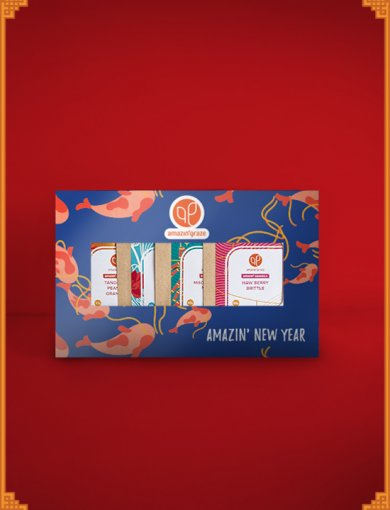 Mini Gift Box: Strength - Contains 40g packs of Tangerine Peanut Granola, Love Letter Kaya Granola, Miso Szechuan Nut Mix, and Haw Berry Brittle