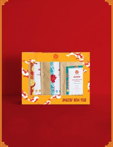Gift Box: Perseverance containing Tangerine Peanut Granola (250 g), Love Letter Kaya Granola (250 g), and Miso Szechuan Nut Mix (120 g)