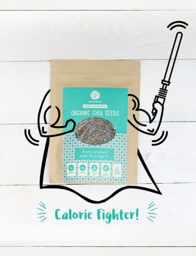 A packet of Amazin' Graze's organic chia seeds with superhero illustrations of arms, a cape, and a sword