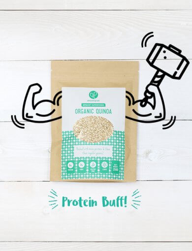 Packet of Amazin' Graze's organic quinoa with illustrations of arms holding a superhero hammer