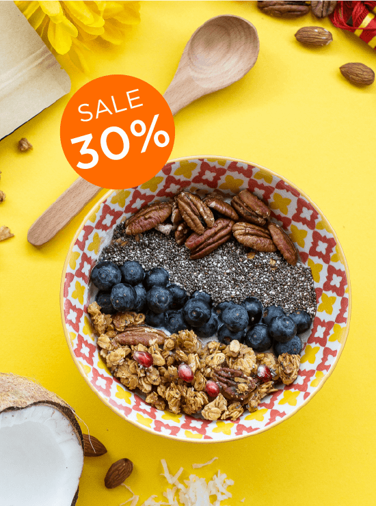 Love Letter Kaya Granola in a bowl with 30% off messaging