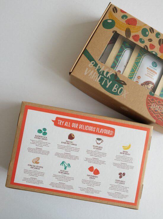 Granola variety box - back of packaging