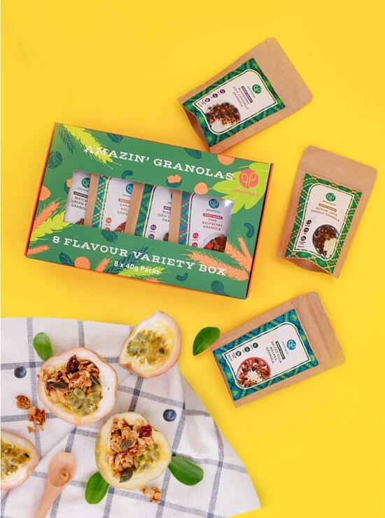 Amazin' Granola Variety Box on yellow background